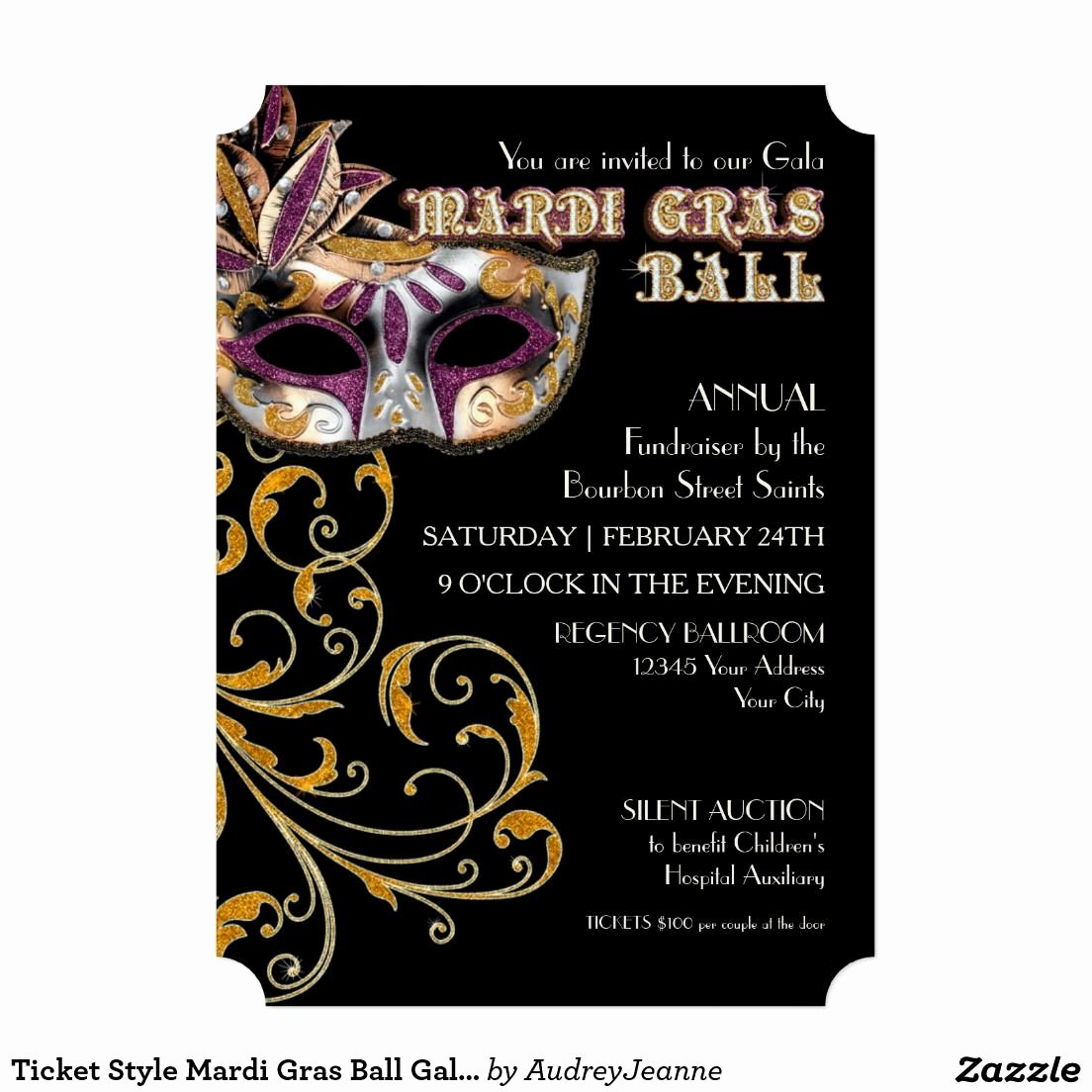 Masquerade Invitations Template Free Awesome Ticket Style Mardi Gras Ball Gala Party Fundraiser Invitation Zazzle