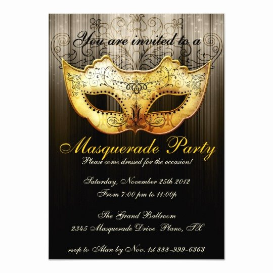 Masquerade Invitations Templates Free Inspirational Masquerade Party Celebration Fancy Gold Invitation
