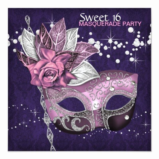 Masquerade Party Invitation Wording Beautiful Pink Purple Sweet 16 Masquerade Party Invitation