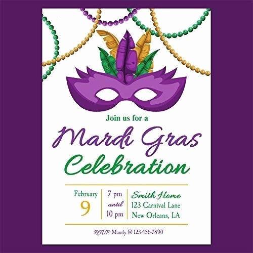 Masquerade Party Invitation Wording Lovely Amazon Mardi Gras Beads and Mask Invitation Any Wording Carnival Masquerade Mardi Gras