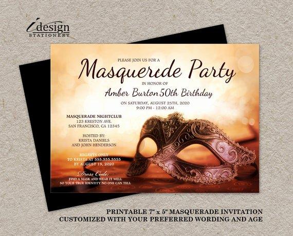 Masquerade Party Invitation Wording Lovely Masquerade Invitation Printable Mardi Gras themed 50th