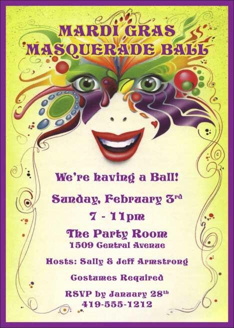 Masquerade Party Invitation Wording Luxury Mardi Gras Masquerade Invitation