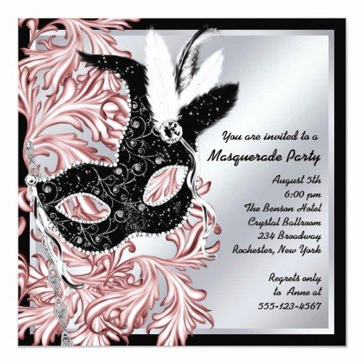 Masquerade Party Invitation Wording New Elegant Pink Black Masquerade Party Invitation