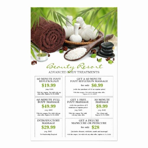 Massage Flyer Template Free Inspirational Customizable Pre Filled Spa Massage Salon Coupons Flyers