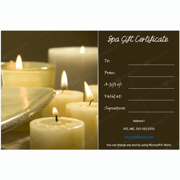 Massage Gift Certificate Template Beautiful Gift Certificate 19 Word Layouts