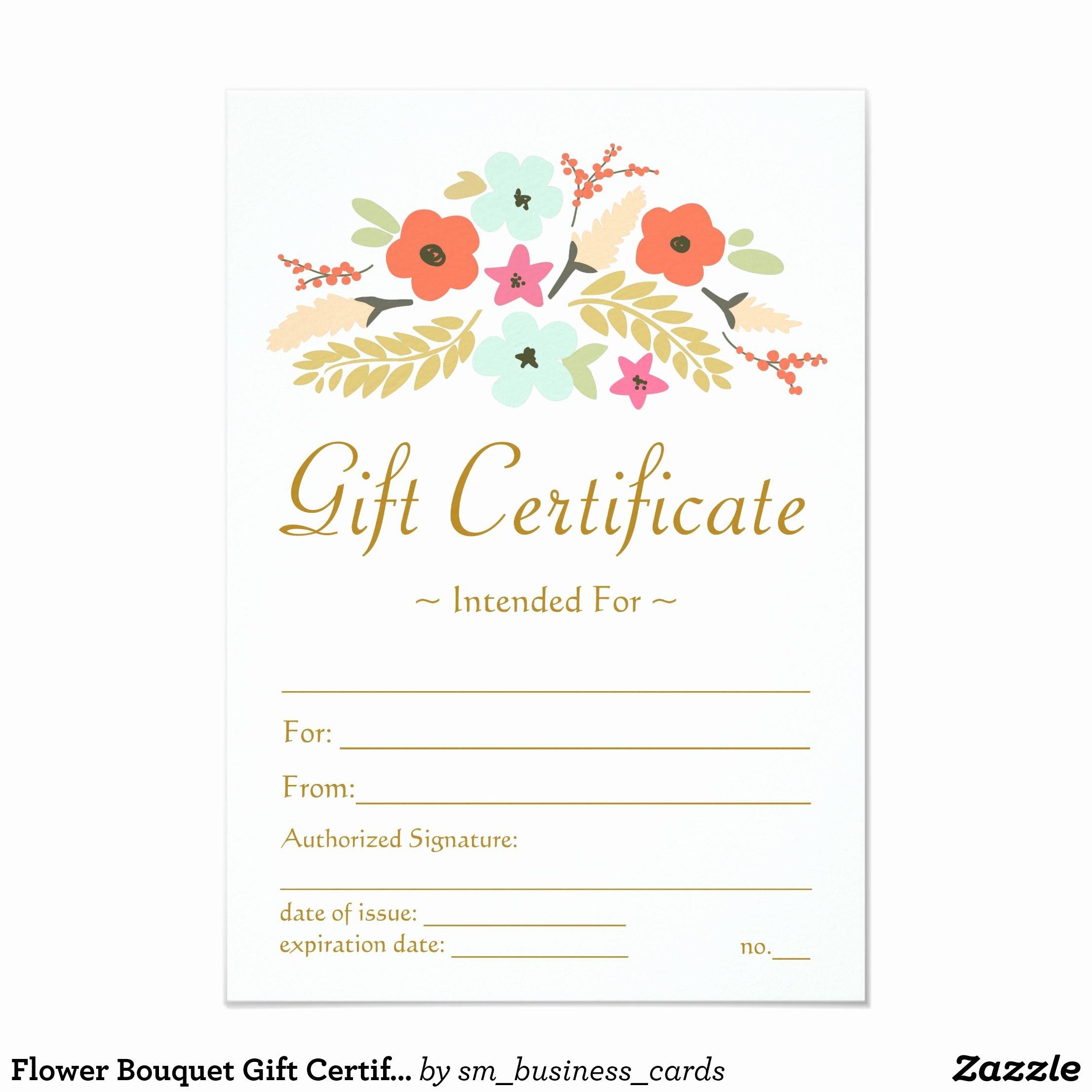 Massage Gift Certificate Template Elegant Flower Bouquet Gift Certificate Zazzle Massage