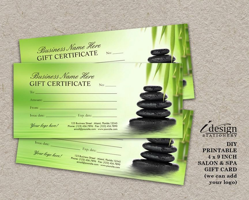 Massage Gift Certificate Template New Salon Gift Certificate Printable Spa Gift Card