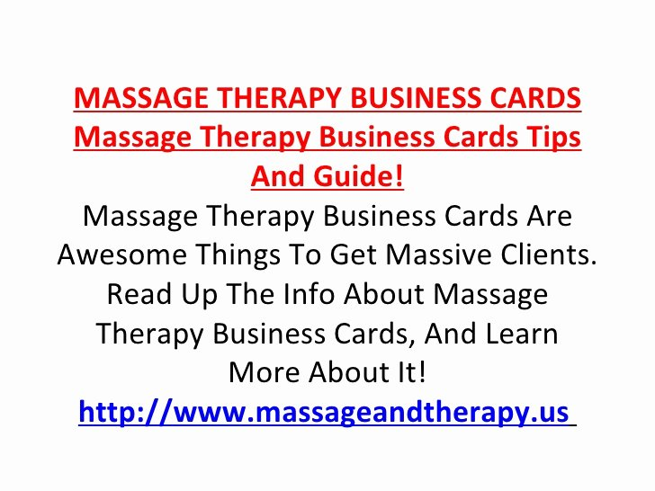 Massage therapist Business Card Fresh Massage therapy Business Cards