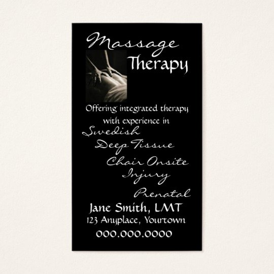 Massage therapist Business Card New Massage therapy Sleek Black Business Card