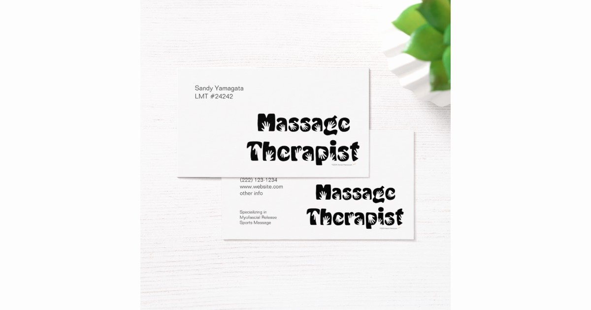 Massage therapist Business Cards Example Awesome Massage therapist Business Cards Template