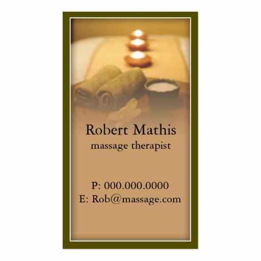 tranquil massage therapist business card
