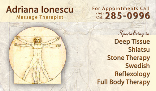 Massage therapy Business Cards Beautiful Adriana Ionescu Massage Cards Dre5 Productions Las Vegas Video Production