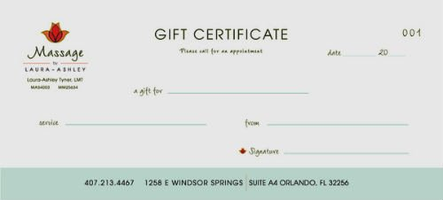 Massage therapy Gift Certificate Template Awesome 500px