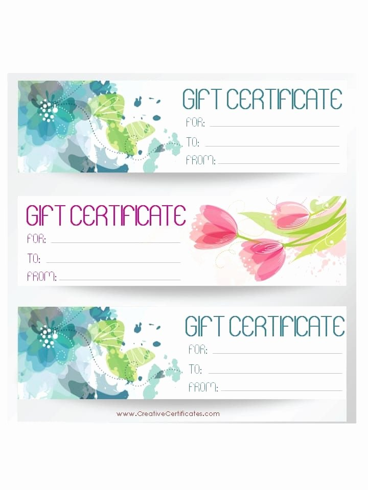 Massage therapy Gift Certificate Template Fresh Three T Certificate Templates On One Page with Blue and Pink Flowers Massage therapy
