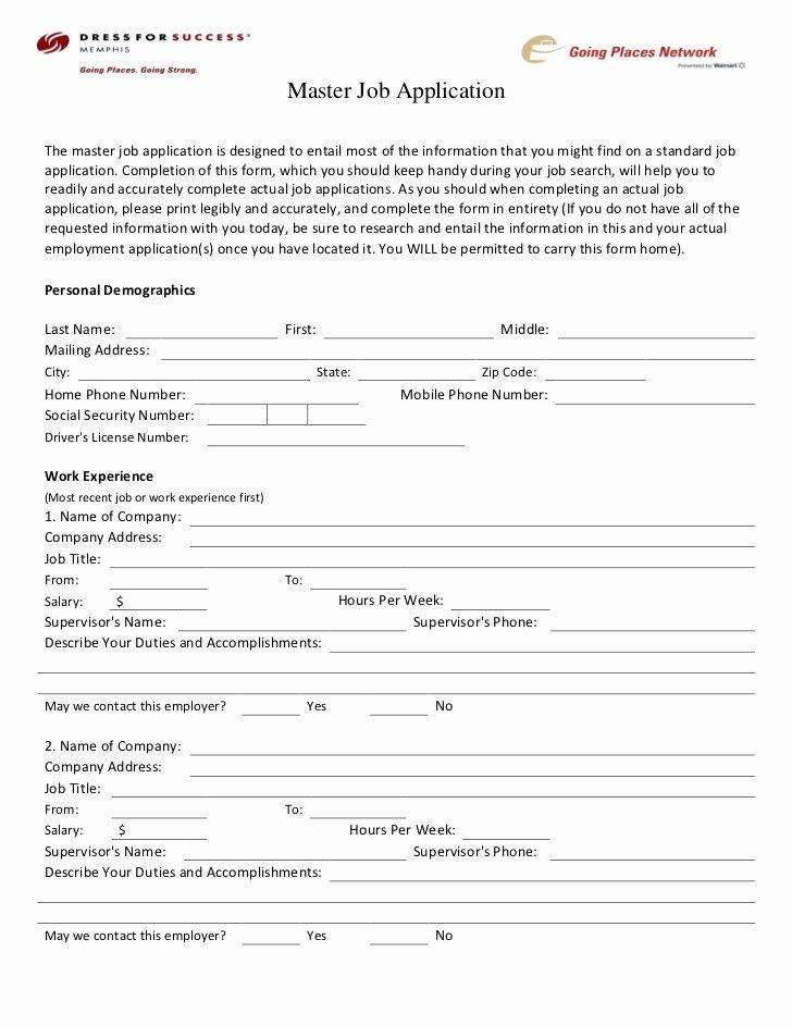 Master Application for Employment Beautiful Dress for Success Memphis Career Center Master Job Application