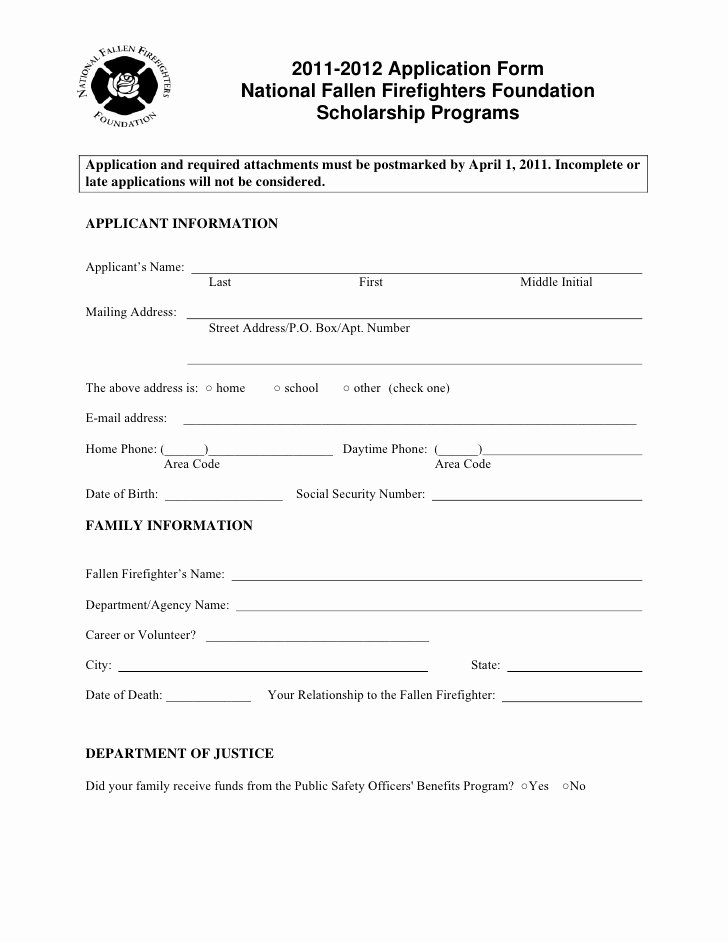 Master Application for Employment Beautiful Masterguard Scholarship Application for National Fallen Firefighters…