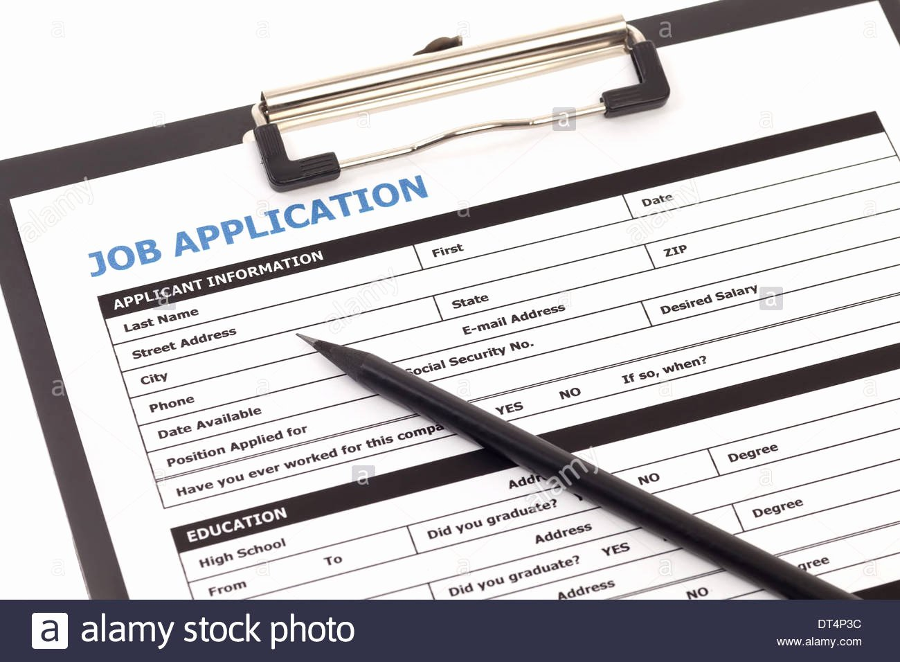 stock photo job application form with pencil isolated on white background