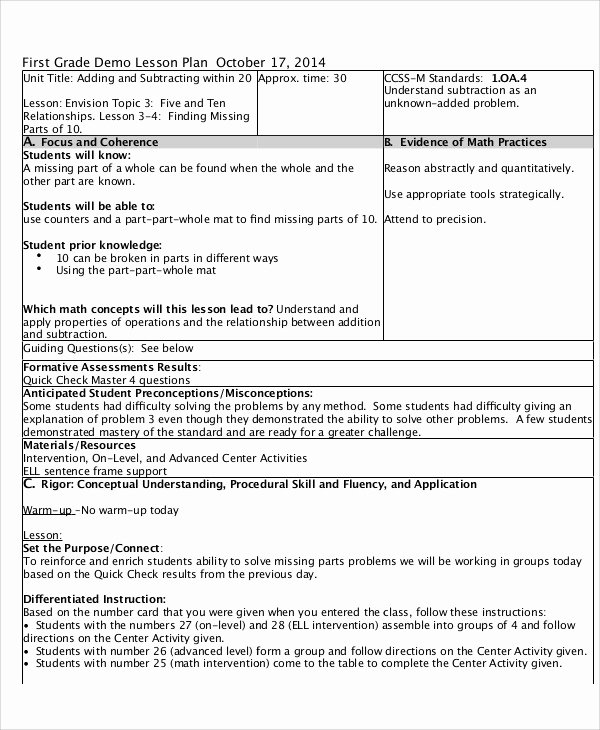 Math Lesson Plan Template Awesome 47 Lesson Plan Samples