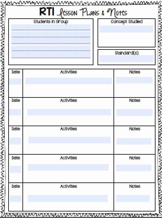 Math Lesson Plan Template Awesome Rti Notebook Rti Math