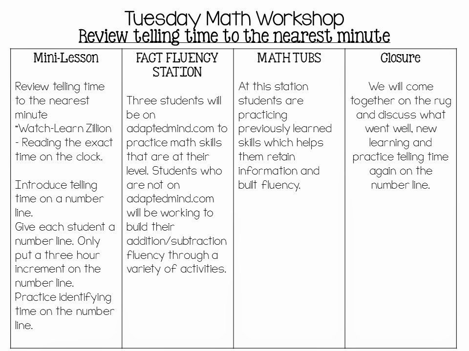 Math Lesson Plan Template Beautiful 4 Day Math Workshop Lesson Plans the Teacher Talk
