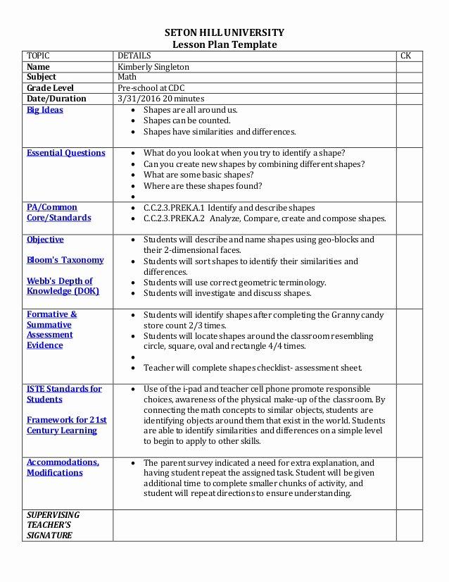 Math Lesson Plan Template Elegant Cdc Lesson Plan Floor Time 240