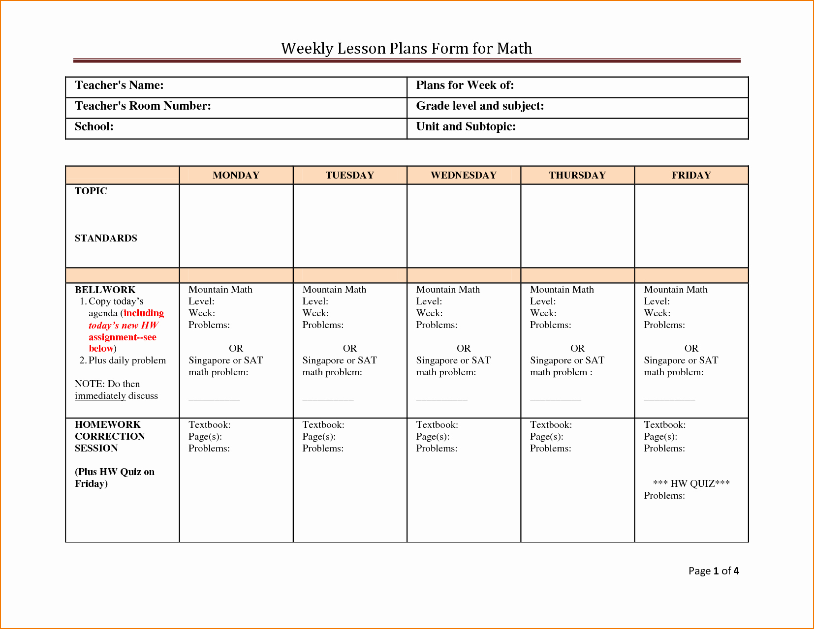 Math Lesson Plan Template Fresh 5 Weekly Lesson Plan Template