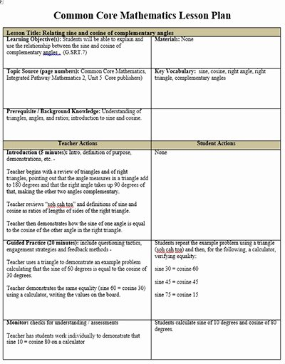 Math Lesson Plan Template Inspirational Mon Core Math Lesson Plan Template Free