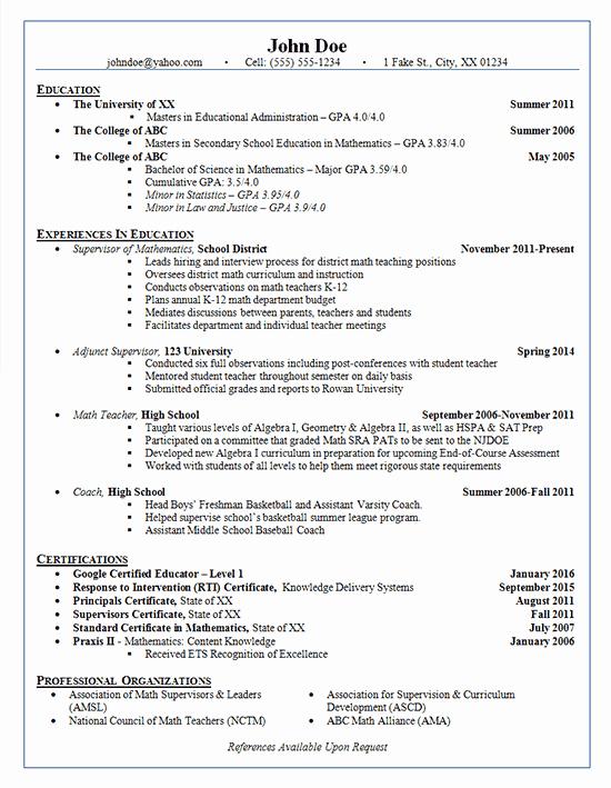 Math Teacher Resume Examples Best Of School Administrator Resume Example Adjunct Supervisor