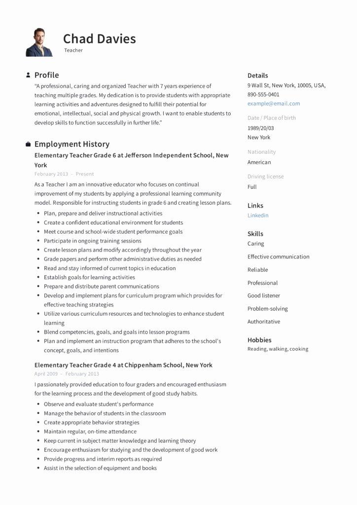 Math Teacher Resume Examples Best Of Teacher Resume & Writing Guide 12 Samples Pdf