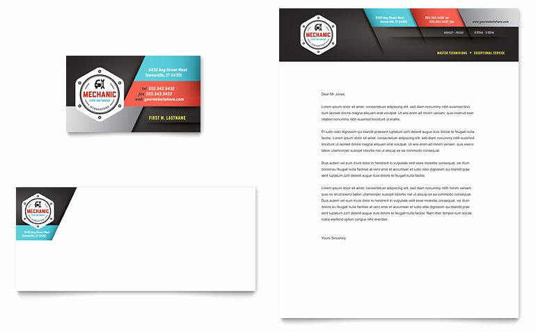 Mechanic Business Cards Templates Free Luxury Auto Mechanic Business Card & Letterhead Template Word & Publisher