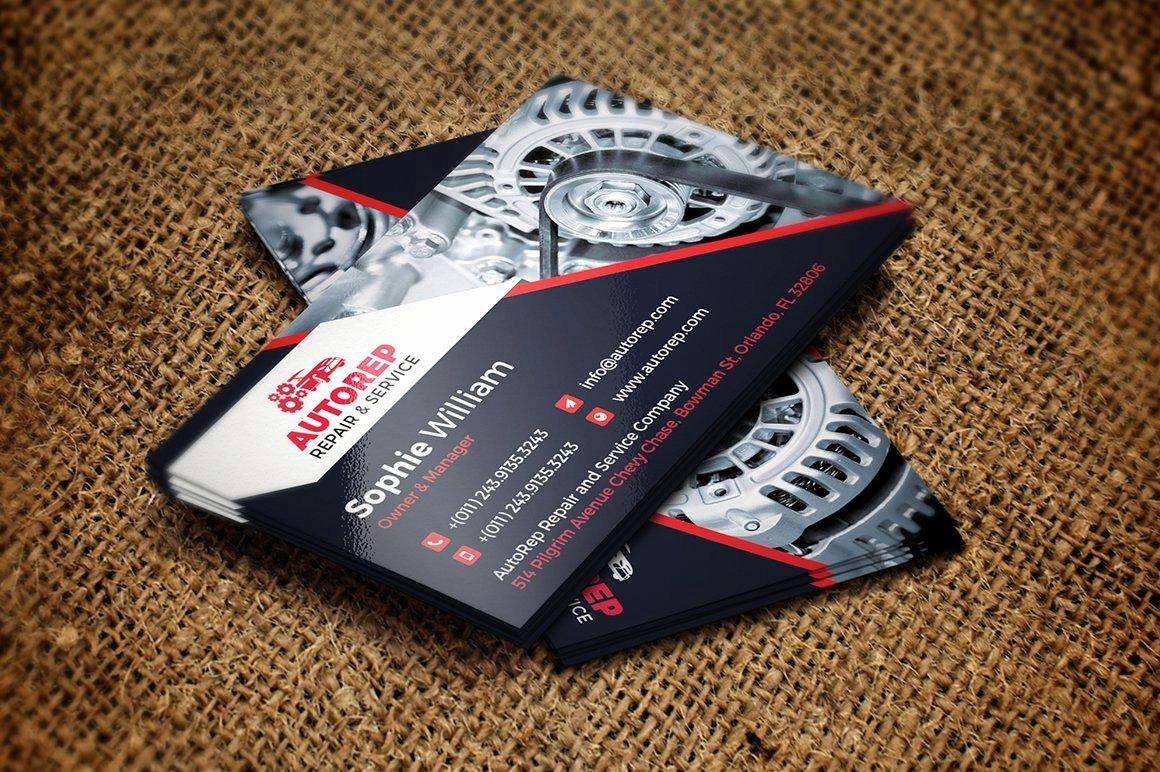 Mechanic Business Cards Templates Free Unique Auto Repair Business Card Template Business Card Templates Creative Market