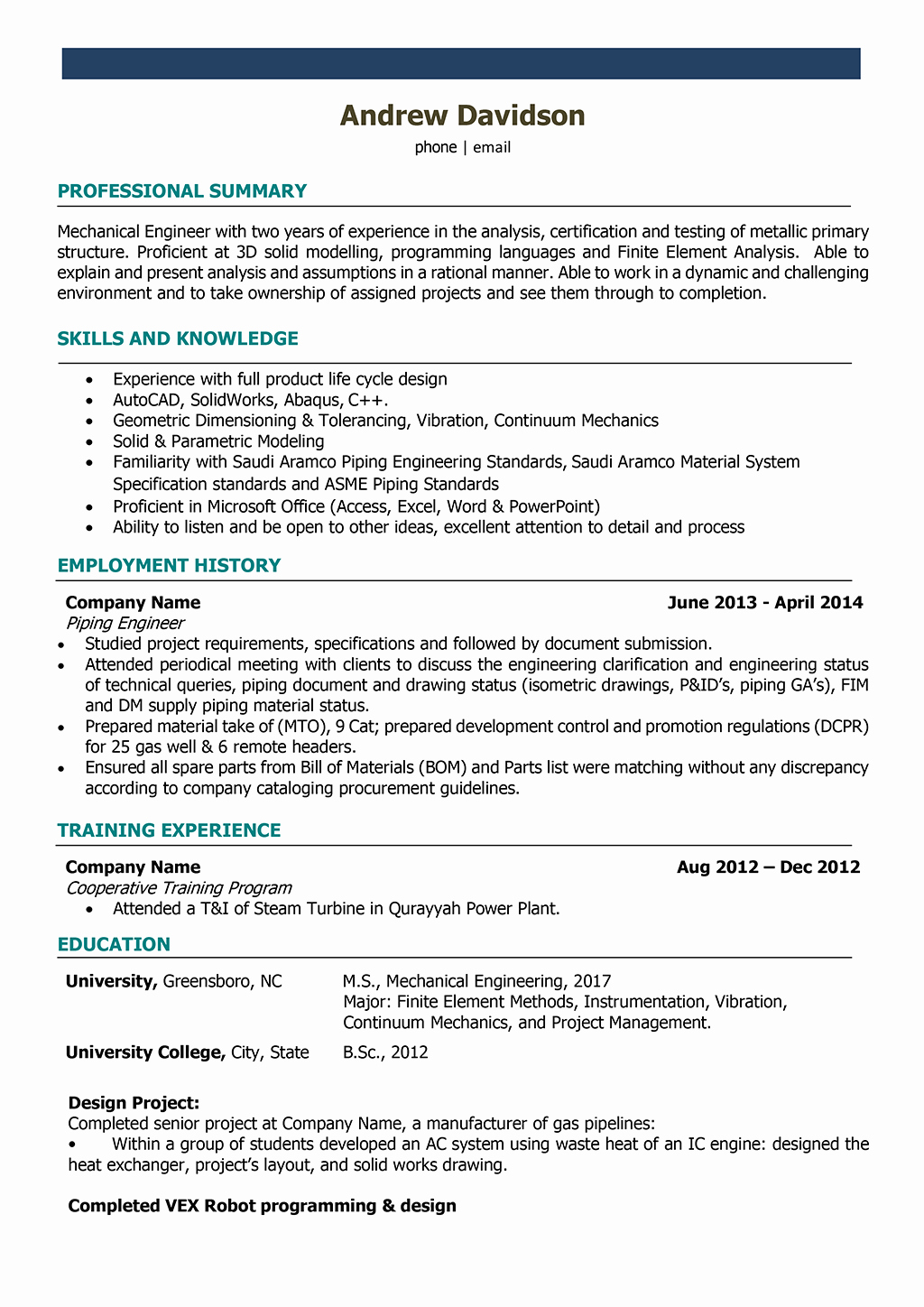 Mechanical Engineer Resume Sample Elegant Mechanical Engineer Resume Samples and Writing Guide