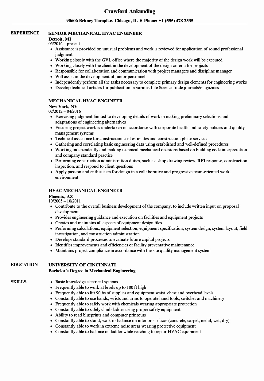 Mechanical Engineer Resume Sample Fresh Hvac Mechanical Engineer Resume Samples