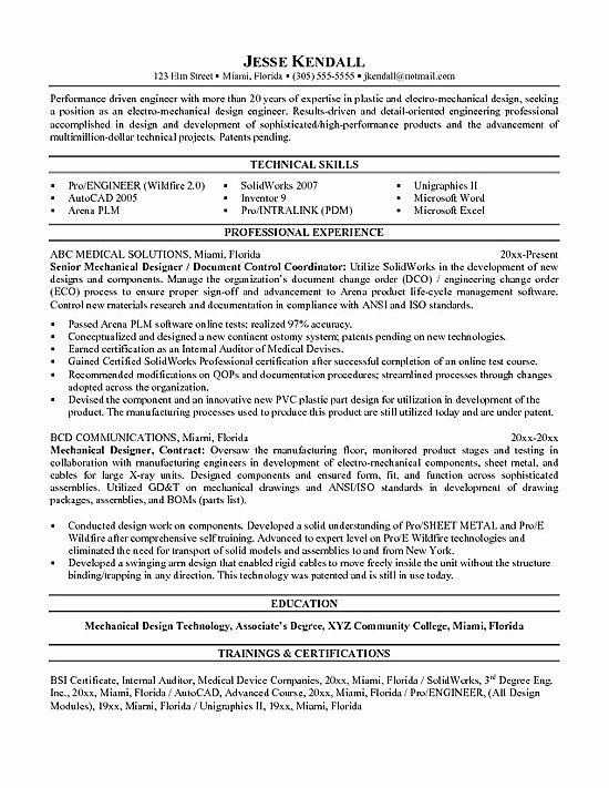 Mechanical Engineer Resume Sample Fresh Mechanical Engineering Resume Examples Google Search Resumes