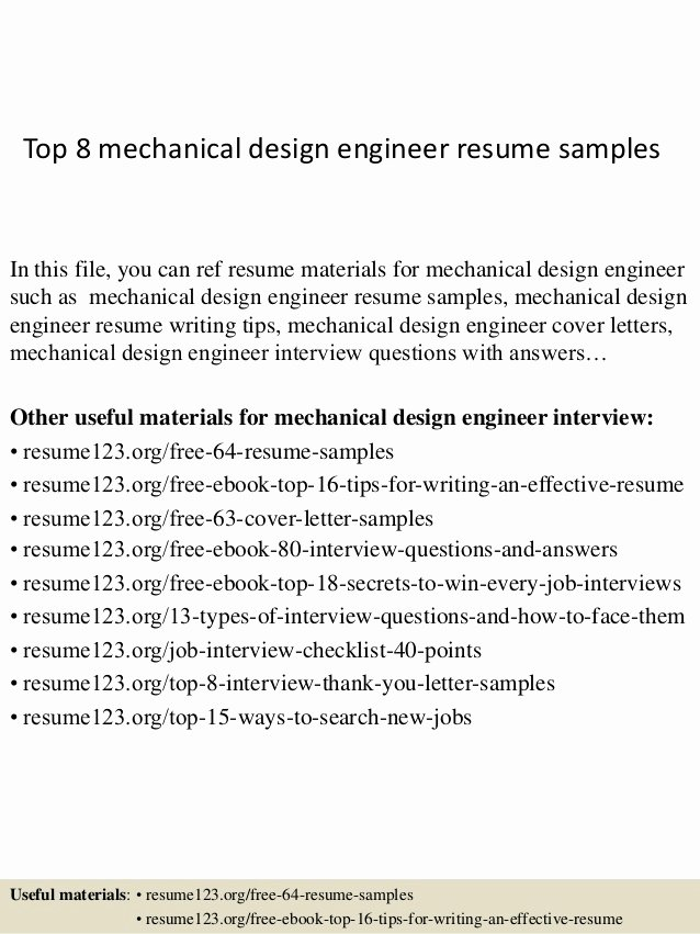 Mechanical Engineer Resume Sample Inspirational top 8 Mechanical Design Engineer Resume Samples