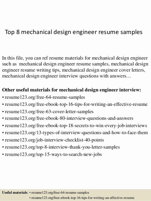Mechanical Engineer Resume Sample Inspirational top 8 Mechanical Design Engineer Resume Samples