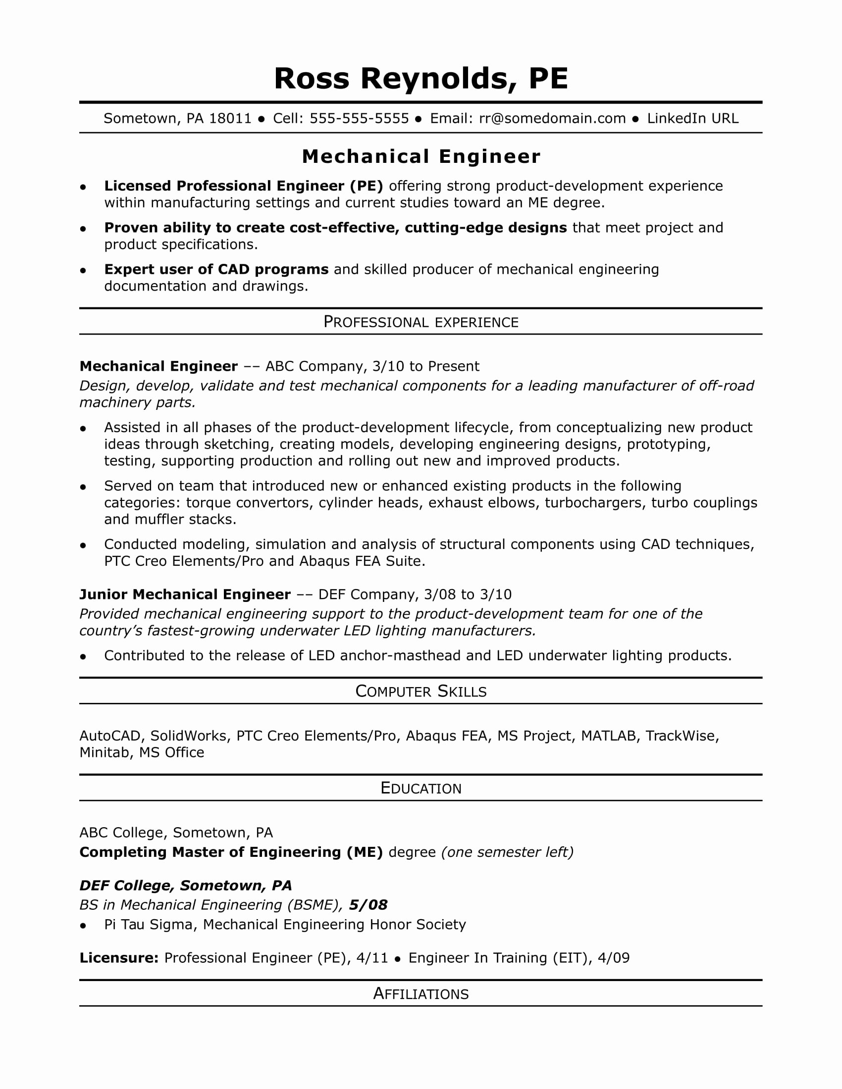 Mechanical Engineer Resume Sample Lovely Sample Resume for A Midlevel Mechanical Engineer