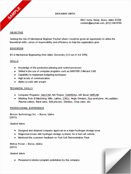 Mechanical Engineer Resume Template Awesome Mechanical Engineering Student Resume Sample