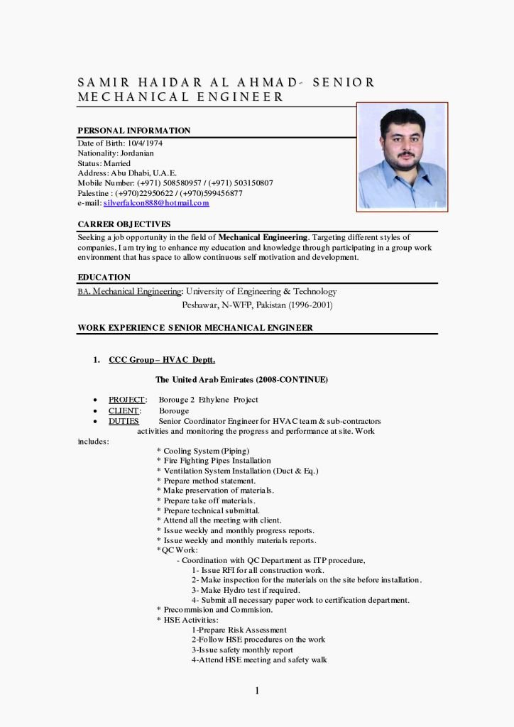 Mechanical Engineer Resume Template Best Of Mechanical Engineer Cv Template Resume Template