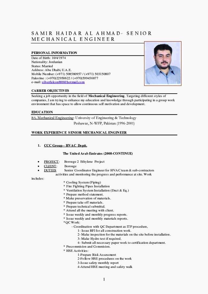 Mechanical Engineer Resume Template Best Of Mechanical Engineer Cv Template Resume Template
