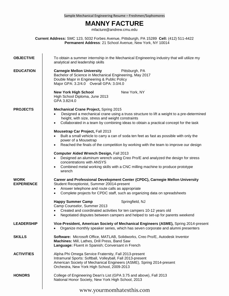 Mechanical Engineer Resume Template Fresh 10 Fresher Resume Templates Download Pdf