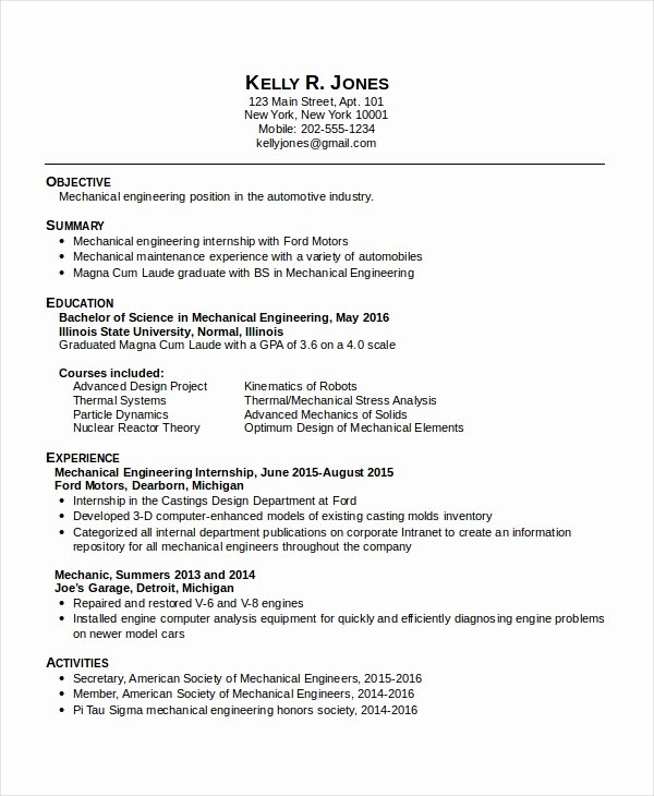 Mechanical Engineer Resume Template Lovely Resume Mechanical Engineer Resume Sample