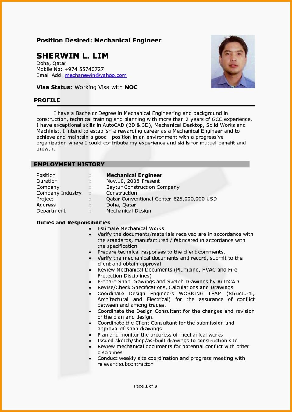 Mechanical Engineer Resume Templates Awesome Mechanical Engineer Cv Template Resume Template