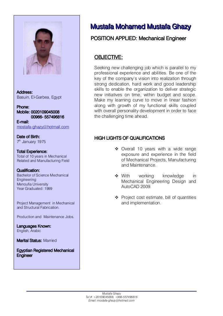Mechanical Engineer Resume Templates Fresh Mechanical Engineer Cv