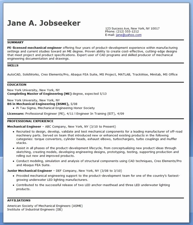 Mechanical Engineer Resume Templates Fresh Mechanical Engineering Resume Sample Pdf Experienced