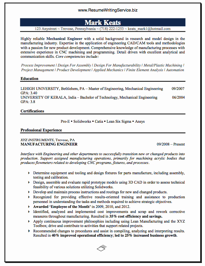 Mechanical Engineering Resume Examples Awesome Mechanical Engineer Resume Sample Career & Education