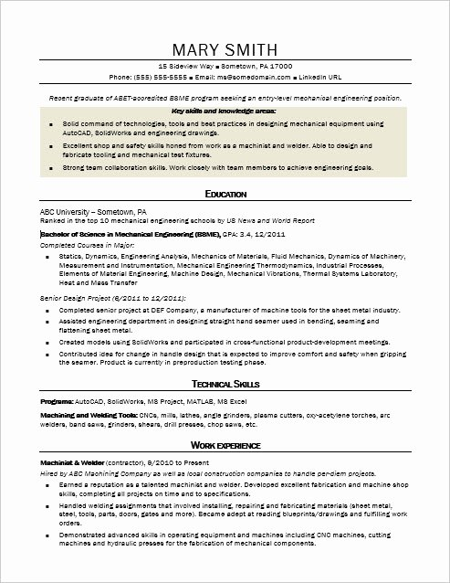 Mechanical Engineering Resume Examples Beautiful Sample Resume for An Entry Level Mechanical Engineer