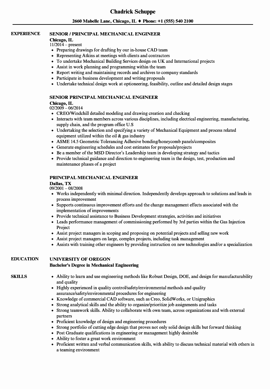 Mechanical Engineering Resume Examples Elegant Principal Mechanical Engineer Resume Samples