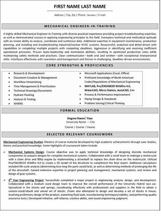 Mechanical Engineering Resume Examples Fresh Mechanical Engineer Resume Sample & Template Job Stuff