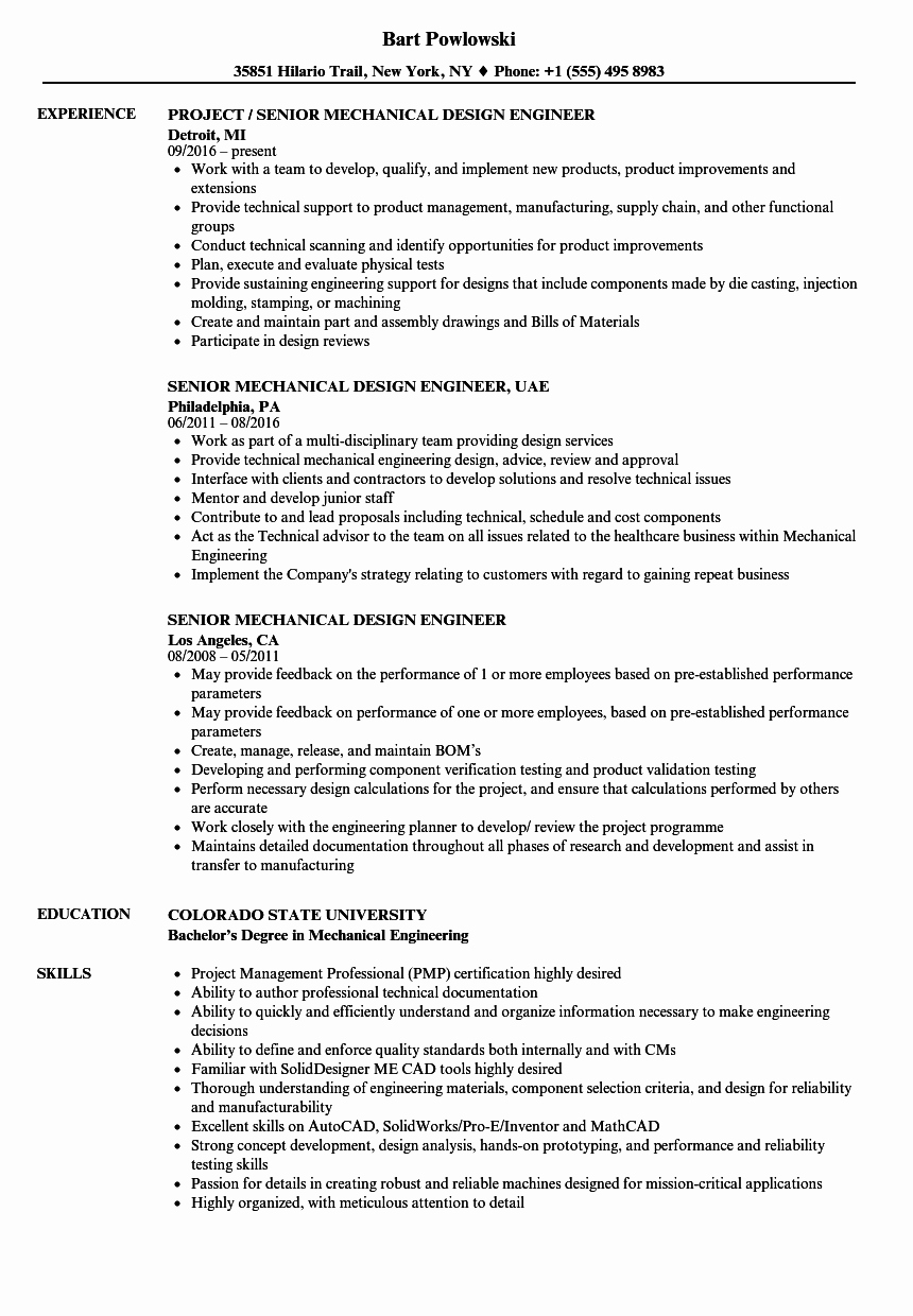 Mechanical Engineering Resume Examples Fresh Senior Mechanical Design Engineer Resume Samples